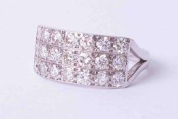A diamond three row ring, approx. one carat diamond weight, size Q.