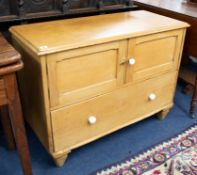 A low pine cupboard with drawer, width 95cm.