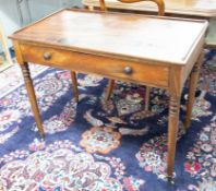 A Victorian mahogany side table with low three quarter gallery, fitted with a single drawer on