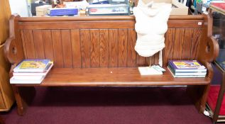 WITHDRAWN- A pitched pine church pew, length 182cm.