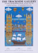 A Brian Pollard Poster, the Mayflower and London Bridge from the exhibition in London at the
