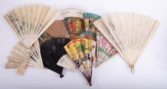 A collection of various vintage fans including BOAC, boxed Duvelleroy London carved bone/ivory