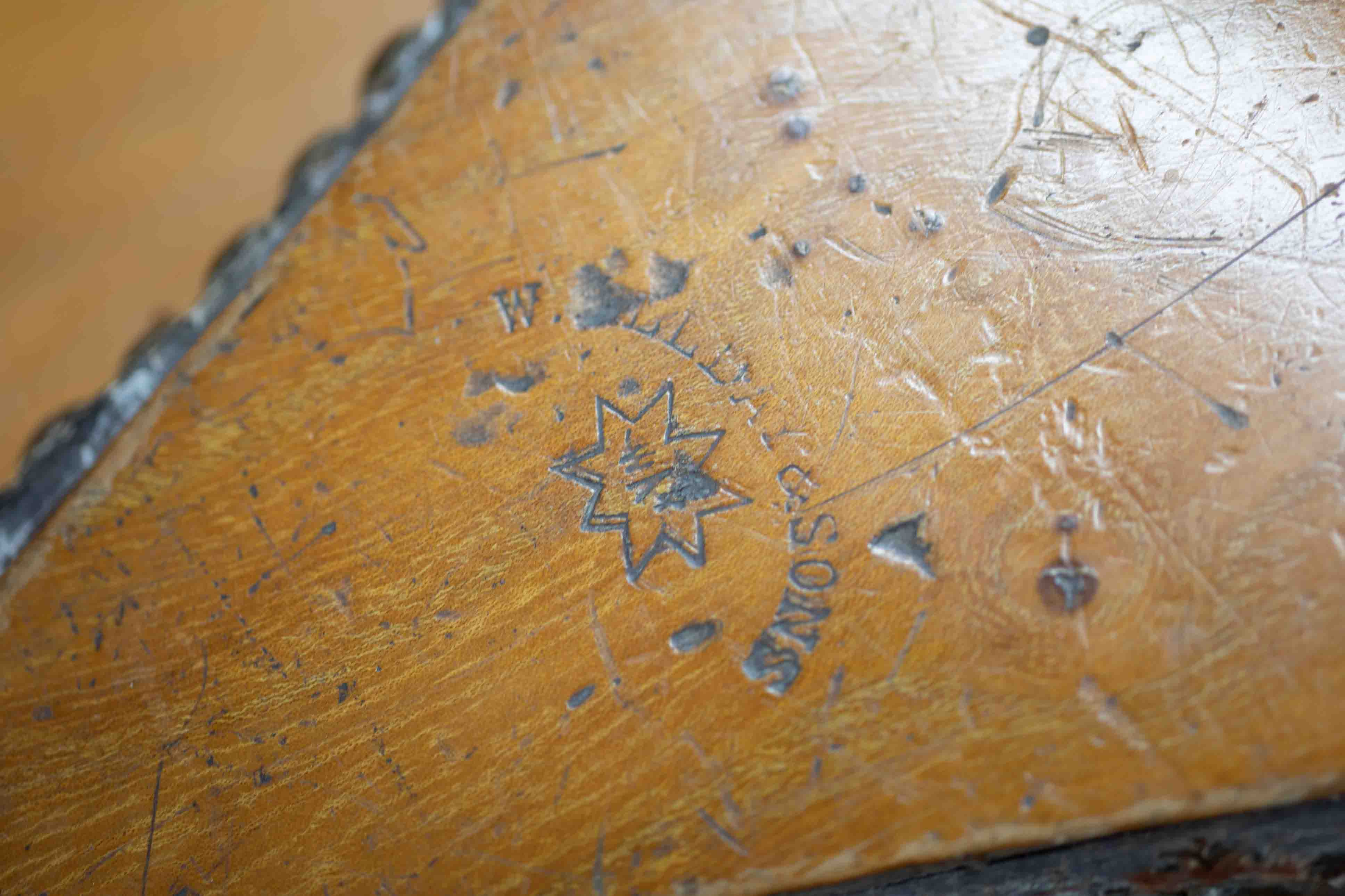 A pair of large 19th Century bellows with makers stamp. - Image 2 of 2