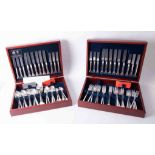 David Mellor, a silver plated contemporary canteen of cutlery by Arthur Price in two fitted boxes.