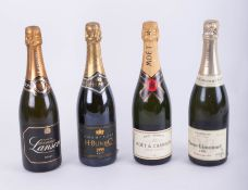Four bottles of Champagne, including Moet and Chandon, H.Blin and Co, 1995 and Pierre Gimonnet.