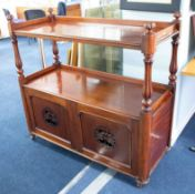 Victorian mahogany buffet with three quarter upper tier on fluted baluster supports above with