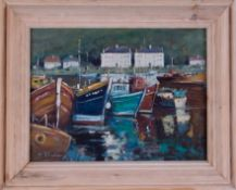 Chinese School, pupil of Xai Baili, oil on board, signed H.H.Wang?, 'Cornish Harbour Boats' 29cm x