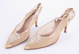 A pair of vintage ladies crystal embossed ball gown shoes, designed for Pophams.
