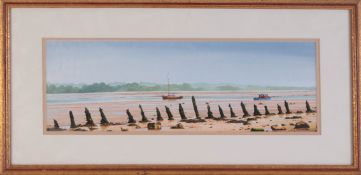 J.C.Skinner, signed watercolour 'Boats on Estuary', 16cm x 44cm, framed and glazed.