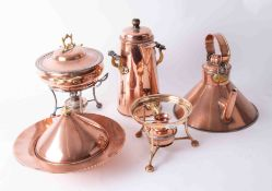 A collection of various copper wares including food warmer, kettle, coffee urn, lidded dish etc.