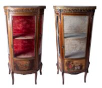 A near pair Vernis Martin style display cabinets, each with marble top (one damaged), single