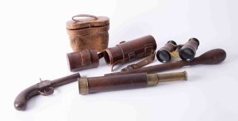 An antique percussion pistol, a pair of opera glasses, a three pull telescope Dolland, London with