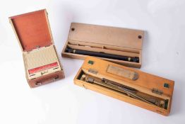 Sea chart roller rule, boxed, also dividers, a navigation Parallel Rolling Rule, boxed and a Ekco