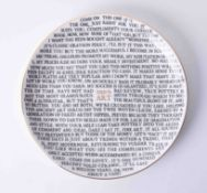 A Grayson Perry 100% Art plate, back stamp 'The Holburn Museum', diameter 21.50cm.