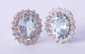 A pair of fine 18ct white & yellow gold aquamarine and diamond cluster earrings, approx. 17mm x