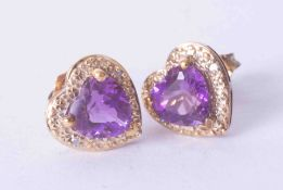 A pair 9ct yellow gold heart shaped amethyst and diamond set earrings.