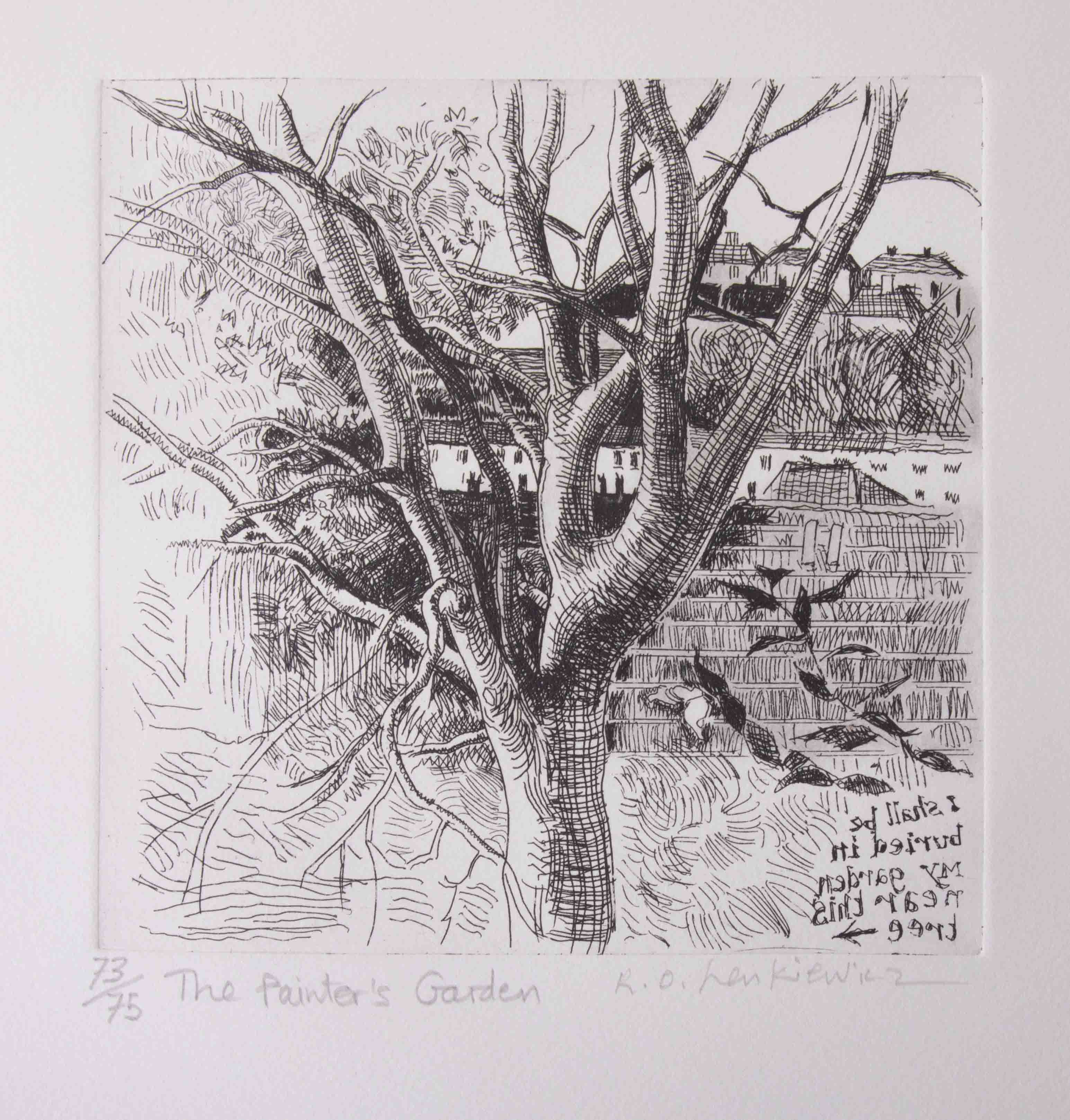Robert Lenkiewicz (1941-2002) etching 'Painters Garden', signed, limited edition print 73/75, - Image 2 of 2