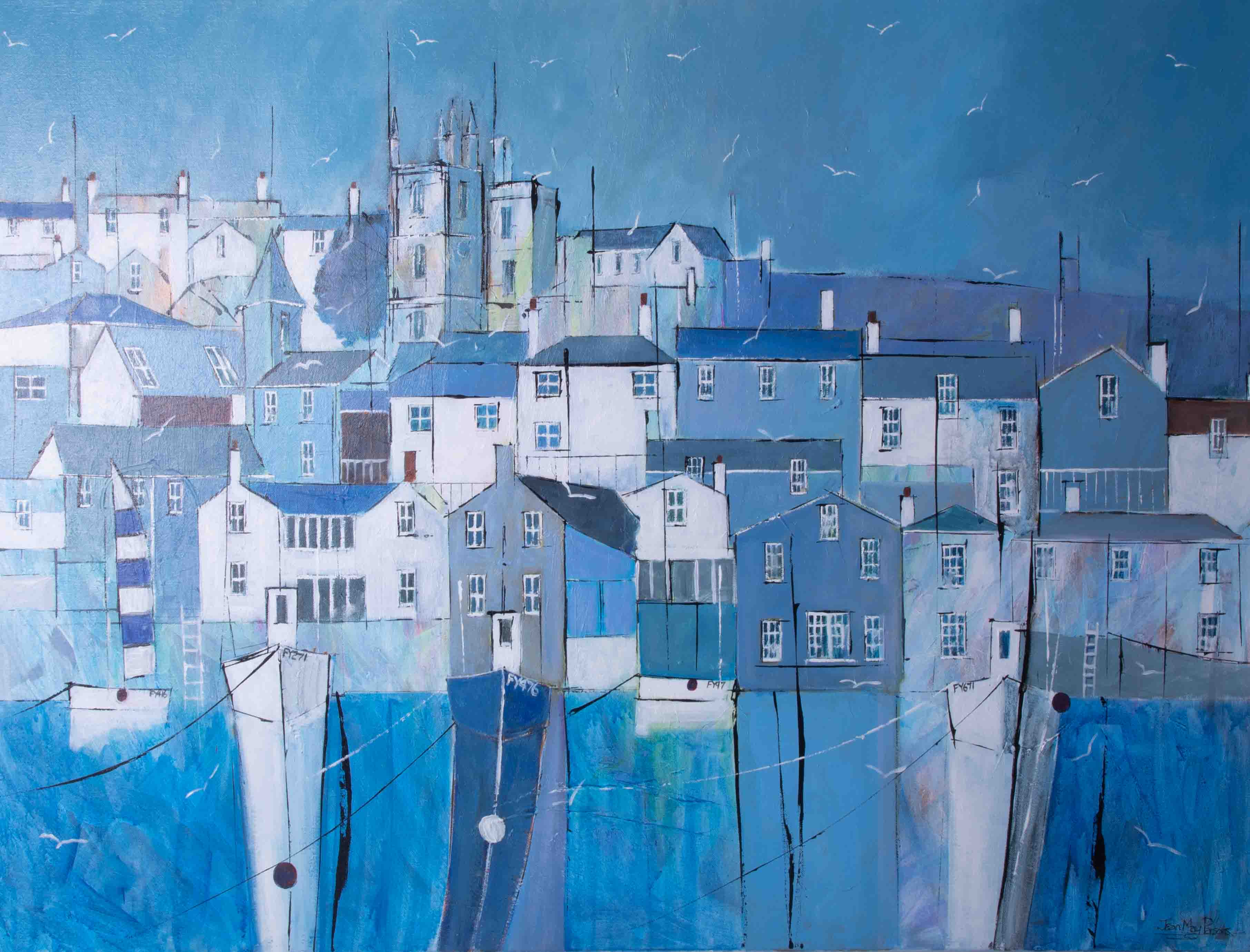 Jean May Parsons, 'Summer Time Blues, Fowey' signed acrylic on canvas, 75cm x 100cm, framed. - Image 2 of 2