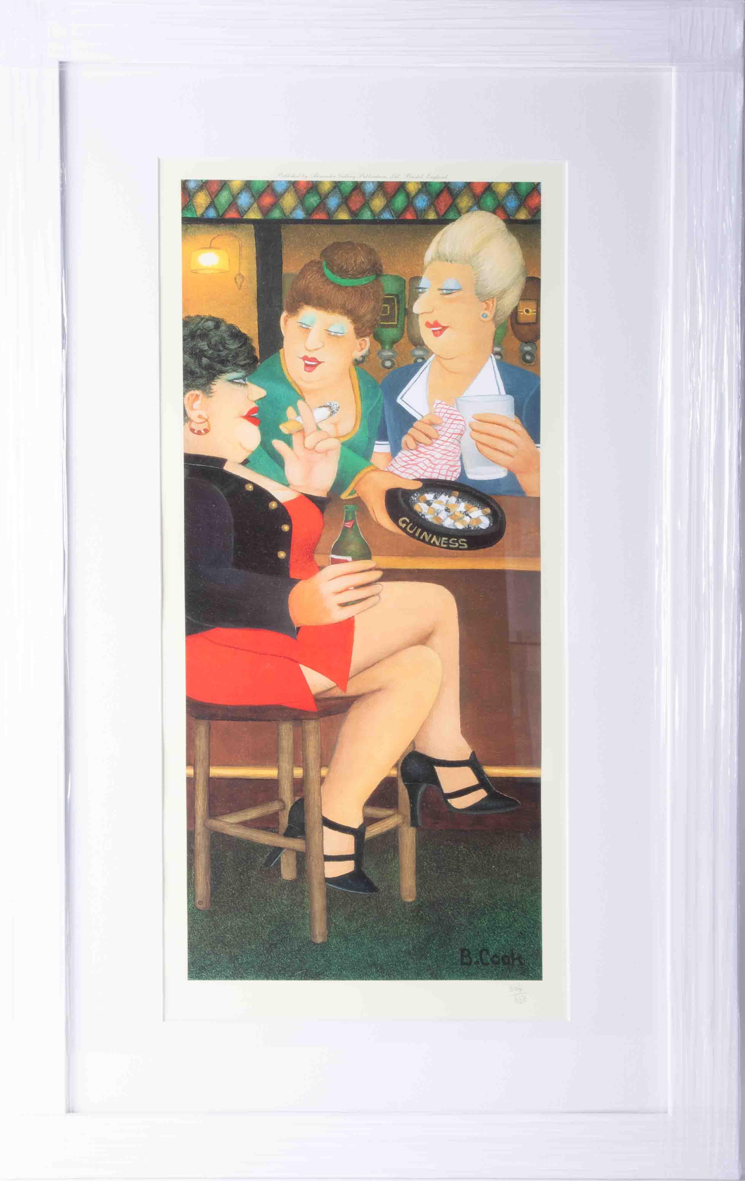 Beryl Cook (1926-2008) 'Last Gasp' limited edition print 604/650, 50cm x 21cm, framed and glazed,