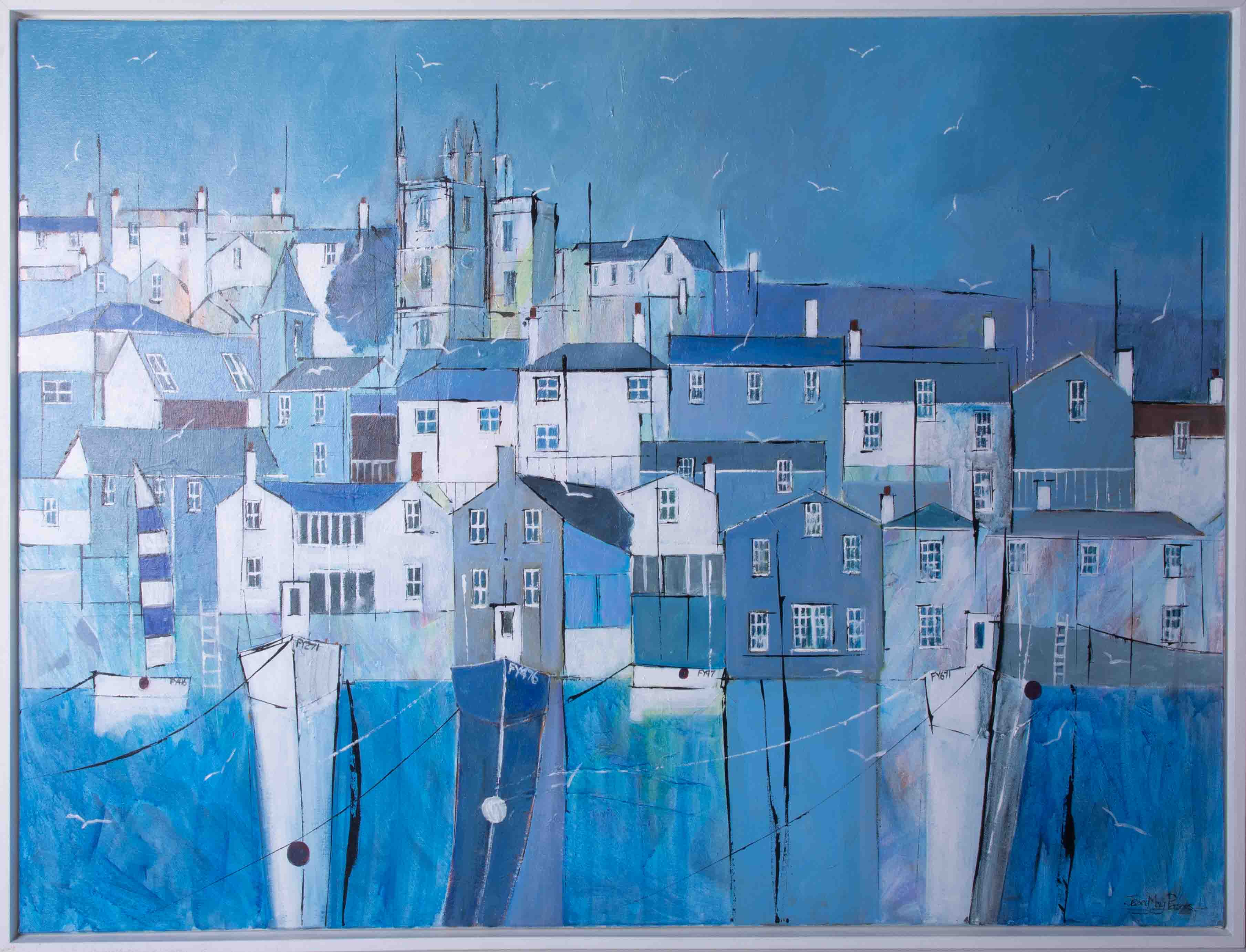 Jean May Parsons, 'Summer Time Blues, Fowey' signed acrylic on canvas, 75cm x 100cm, framed.
