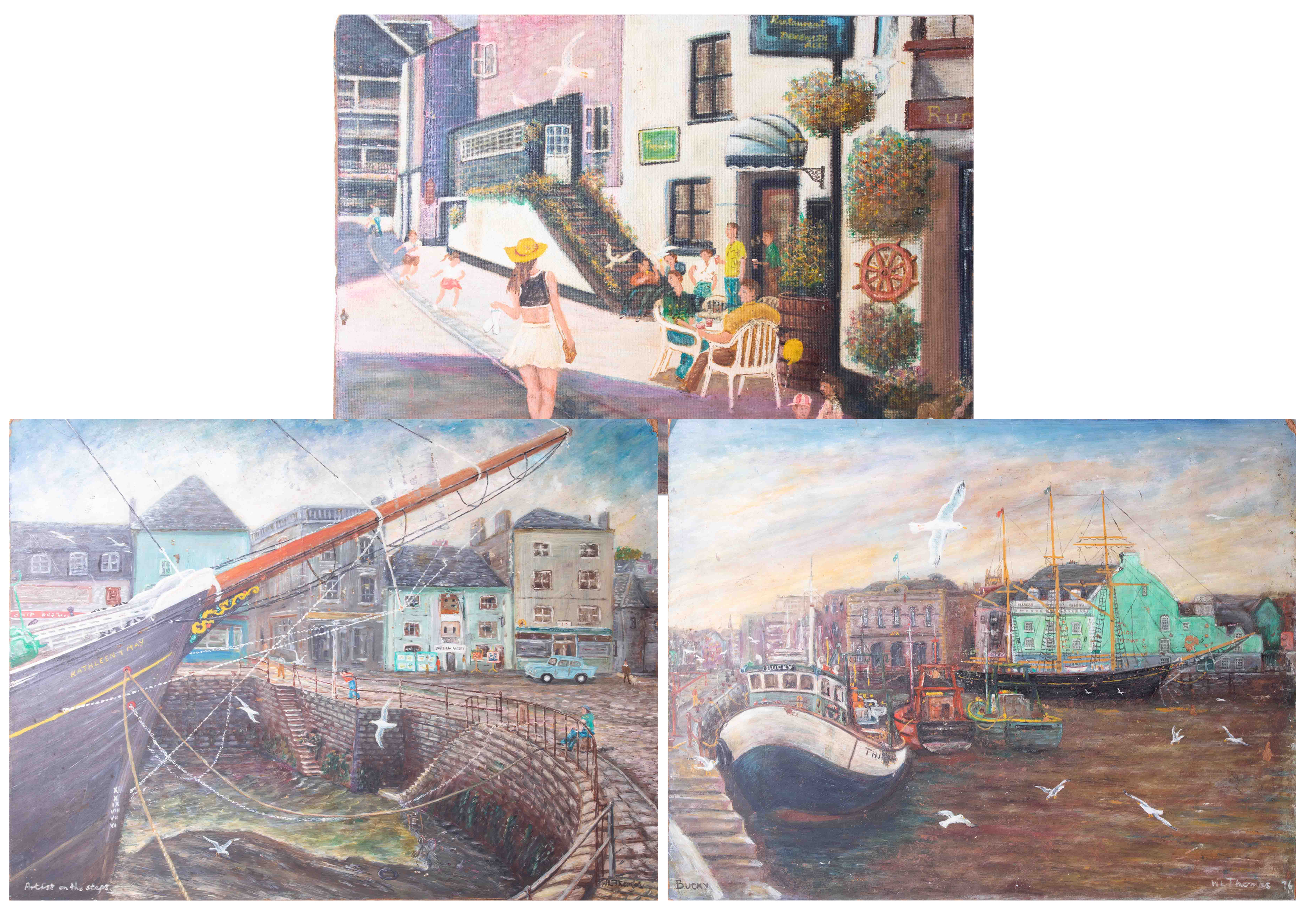 W.L.Thomas, oil on board titled 'Artist On The Steps, Sutton Harbour, Plymouth' also 'Bucky' with