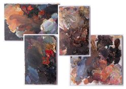 Robert Lenkiewicz (1941-2002) four artist palettes, unframed, Provenance, from a private studio that
