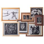 Gerald Anthony Cole, a collection of sevens block prints, framed, 23cm x 33cm