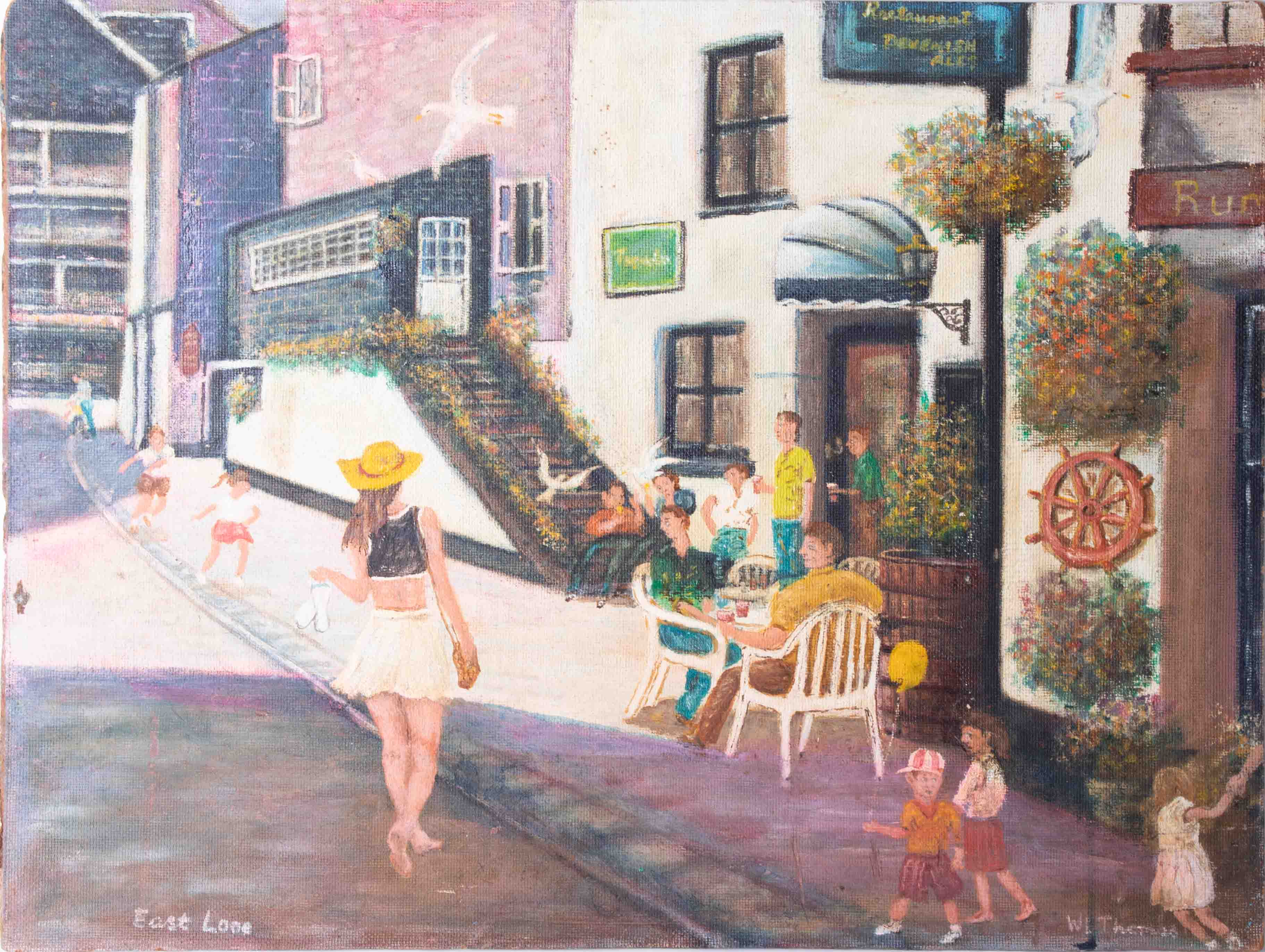 W.L.Thomas, oil on board titled 'Artist On The Steps, Sutton Harbour, Plymouth' also 'Bucky' with - Image 3 of 4