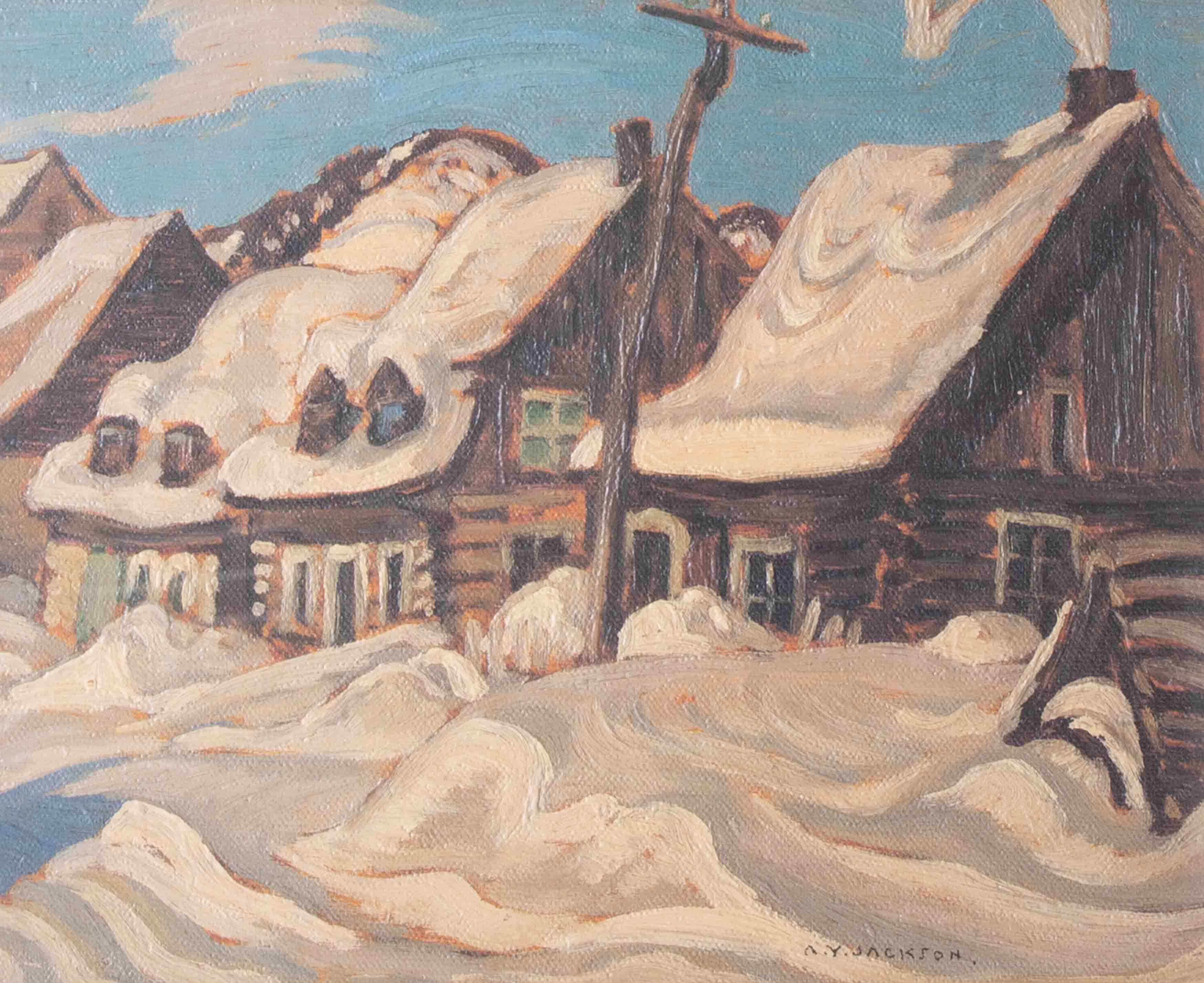 A.Y.Jackson, 'Houses, St.Urbain', giclee print, framed and glazed, 19cm x 23cm, was a Canadian - Image 2 of 2