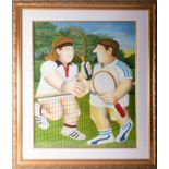 Beryl Cook (1926-2008) 'Tennis Players', signed limited edition print 218/300, framed and glazed,
