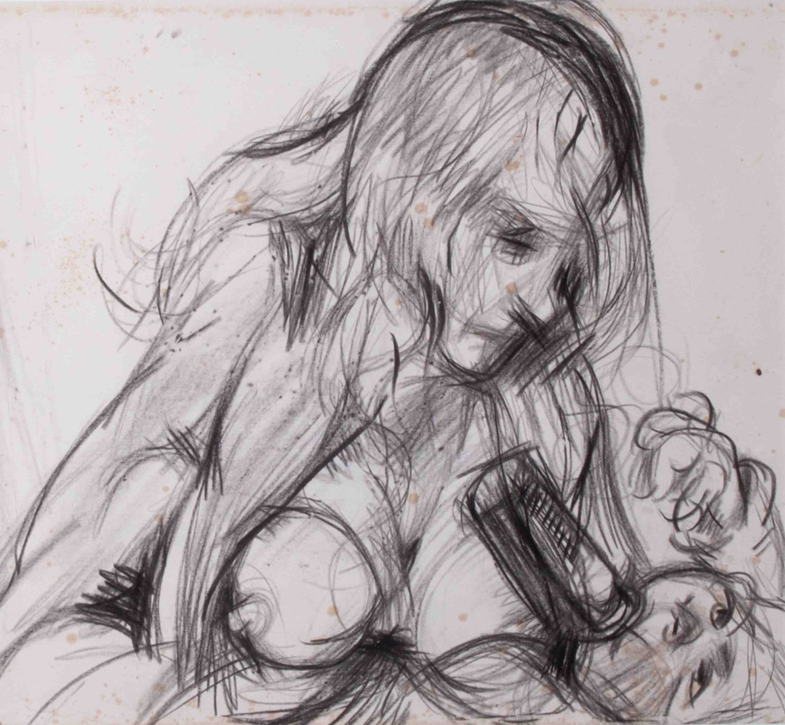 Robert Lenkiewicz (1941-2002), pencil sketch 'Mouse Feeding Wolfe', 23cm x 25cm, framed and glazed. - Image 2 of 2