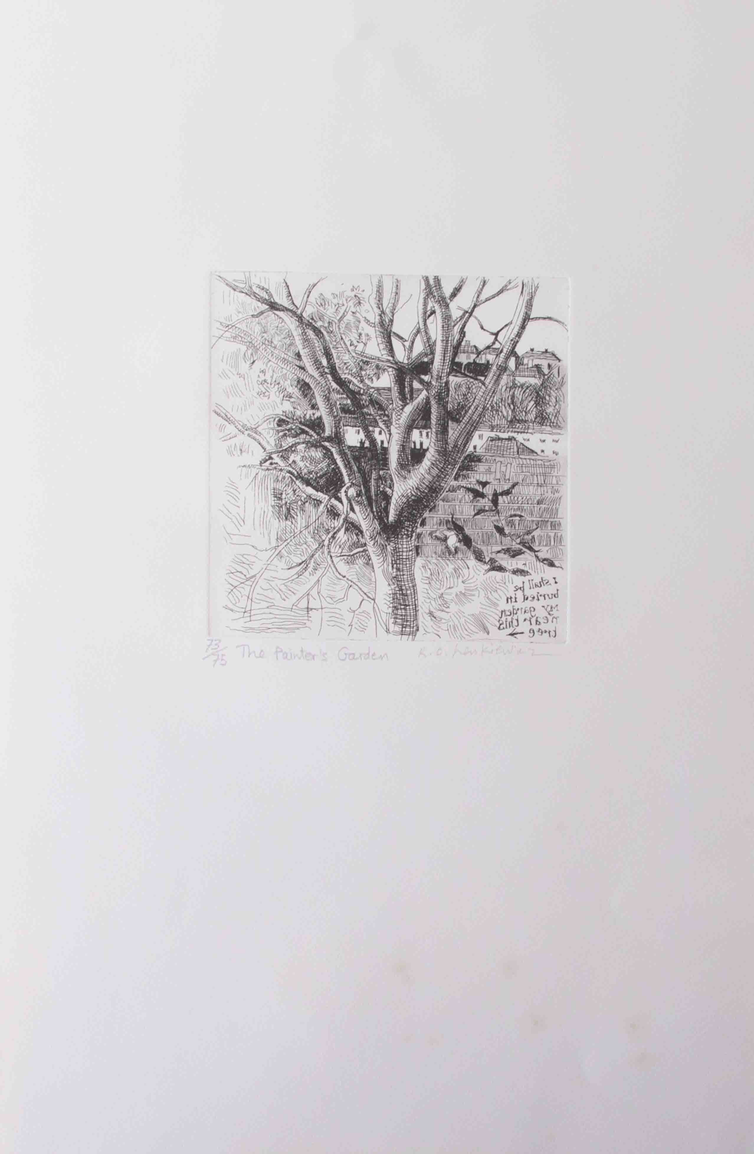 Robert Lenkiewicz (1941-2002) etching 'Painters Garden', signed, limited edition print 73/75,