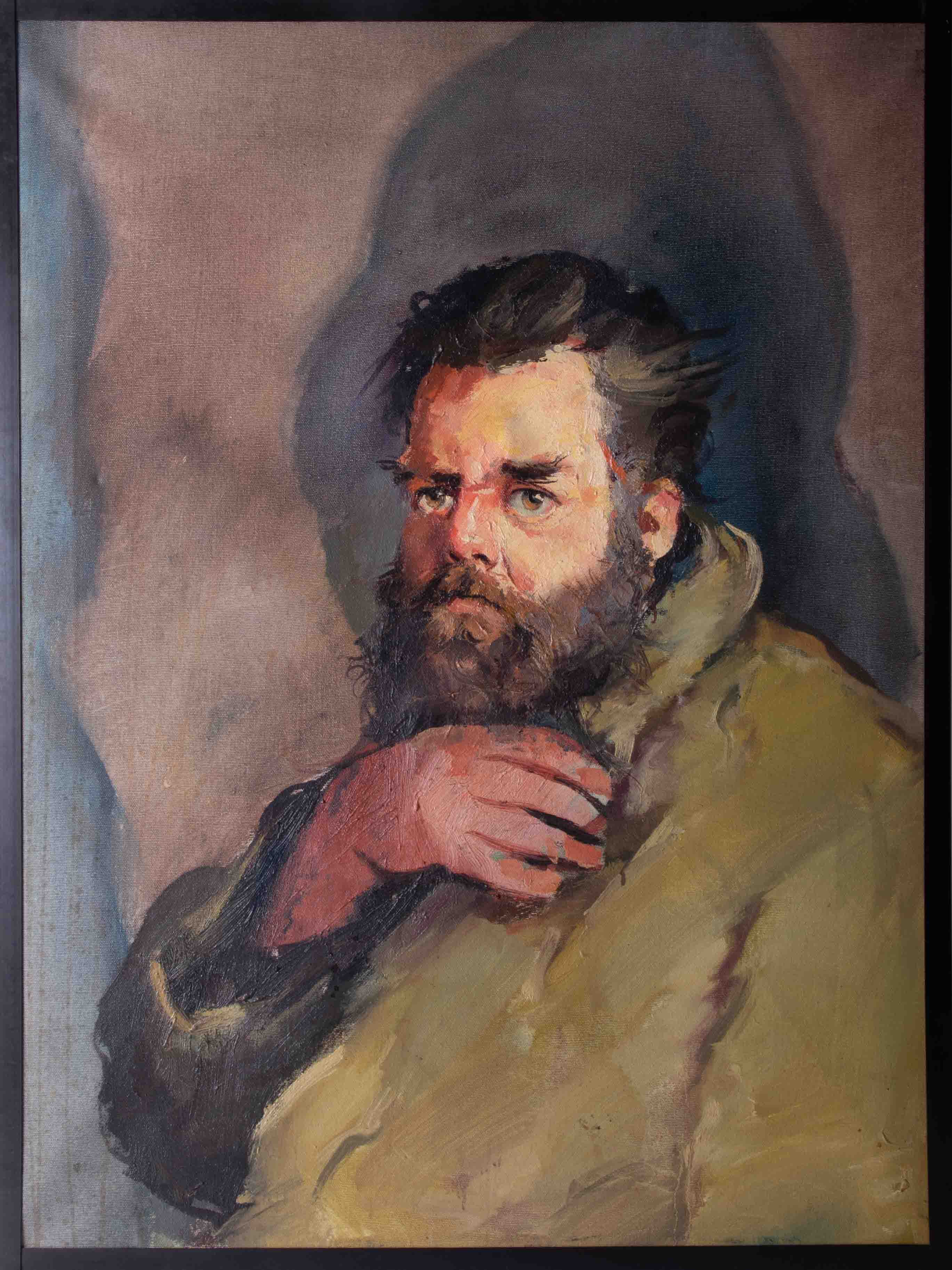 Robert Lenkiewicz (1941-2002) 'Big Pete' oil on canvas, with original artists title label on