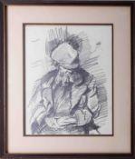 Robert Lenkiewicz (1941-2002), 'Diogenes' pencil sketch, signed, 34cm x 26cm, framed and glazed.