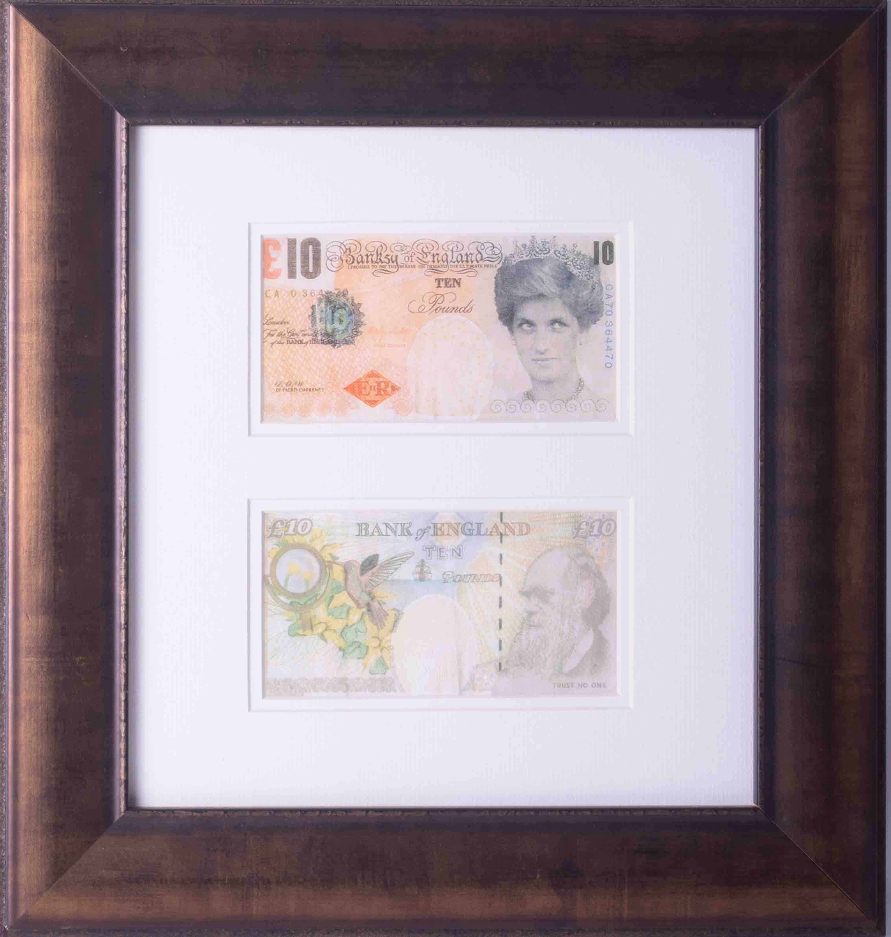 Banksy - 'Two Di-Faced Tenner's', 2004, on paper, Di Faced is a pun on the word, framed and