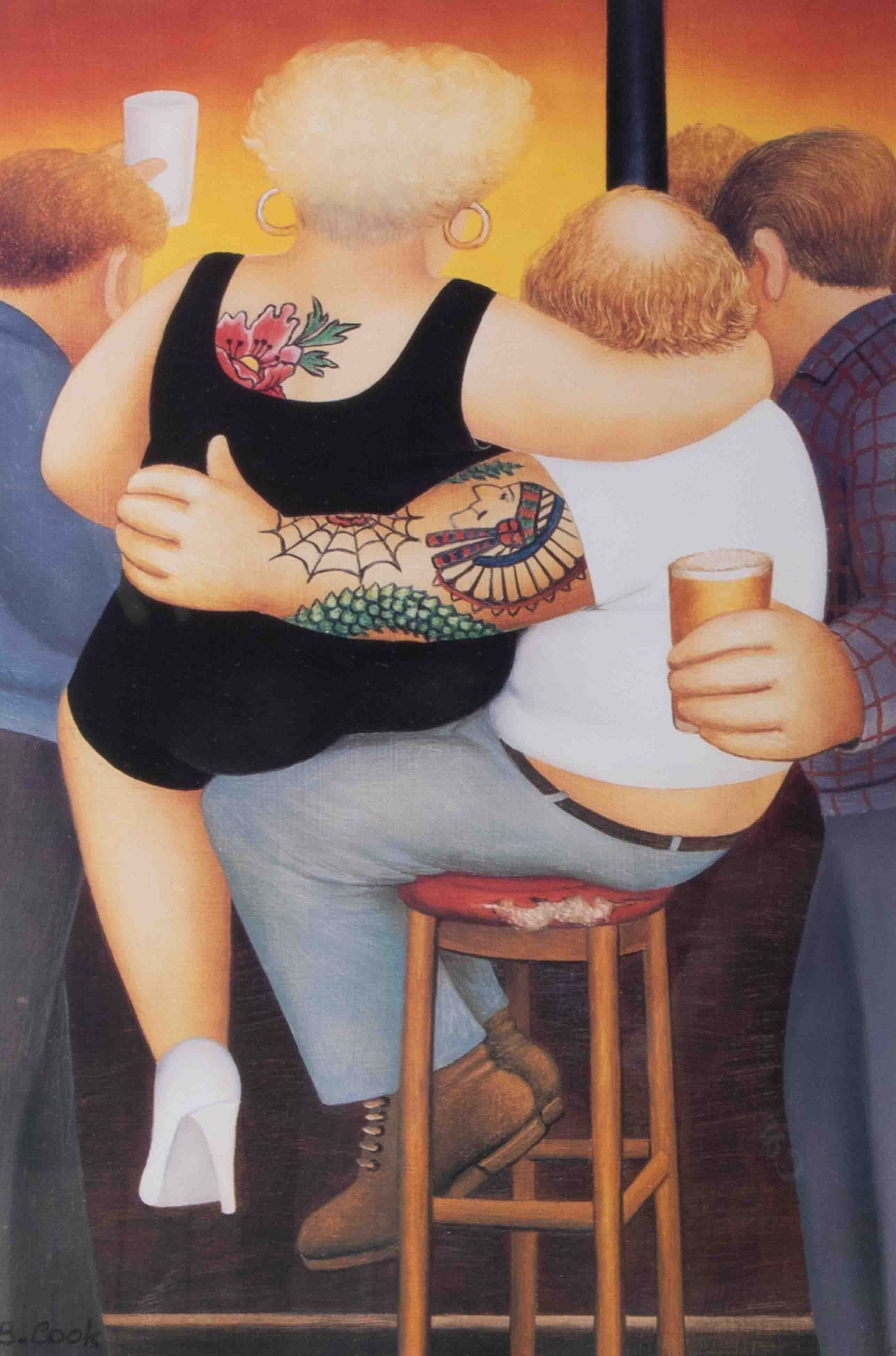 Beryl Cook (1926-2008), 'Two On A Stool', limited edition signed print, 27cm x 40cm, framed and - Image 2 of 2