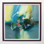 Wilkinson, contemporary abstract painting, oil on board in white floating frame, signed and