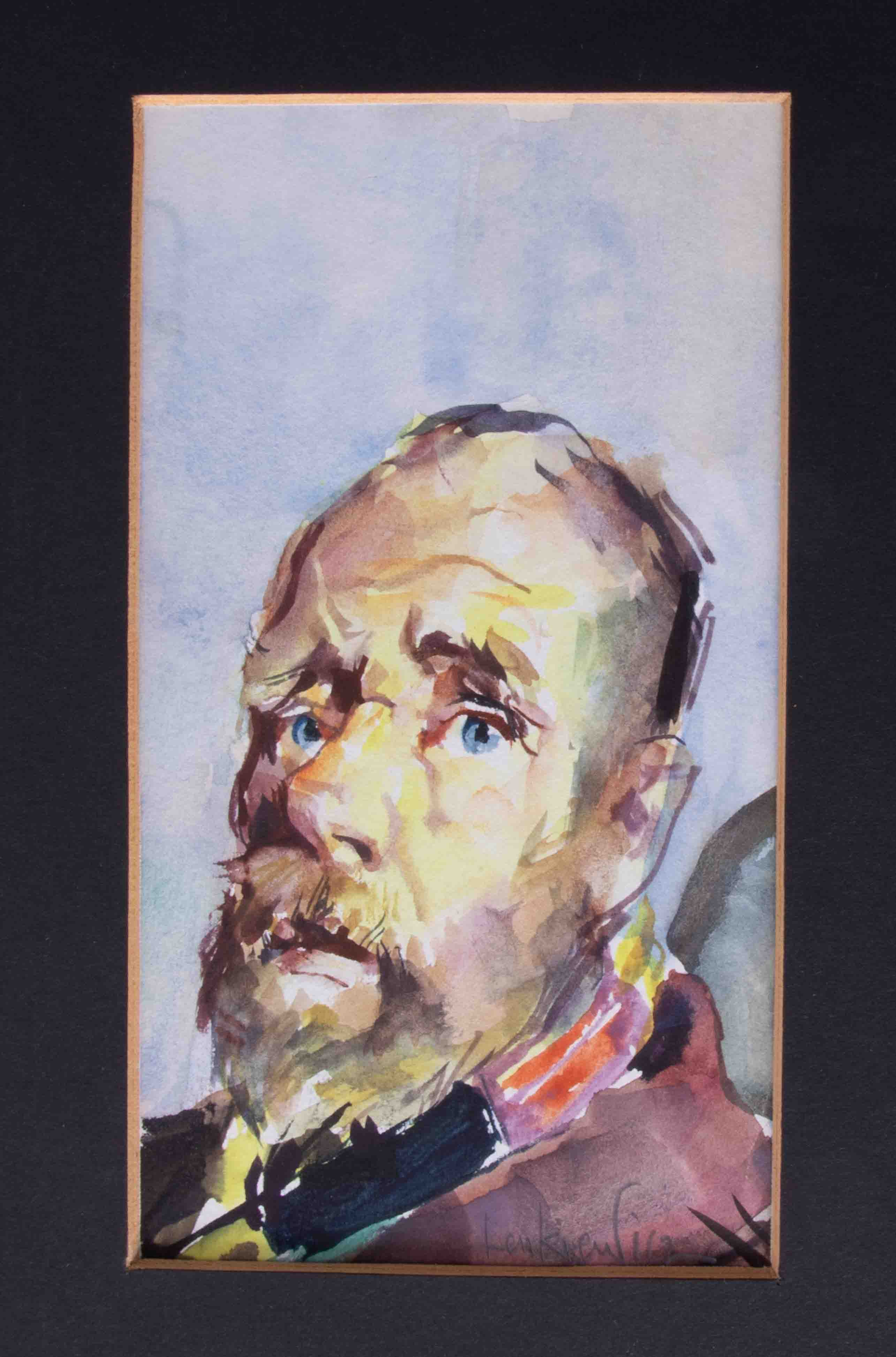 Robert Lenkiewicz (1941-2002), 'The Bishop' watercolour, signed, 16cm x 9cm, unframed. The vagrant