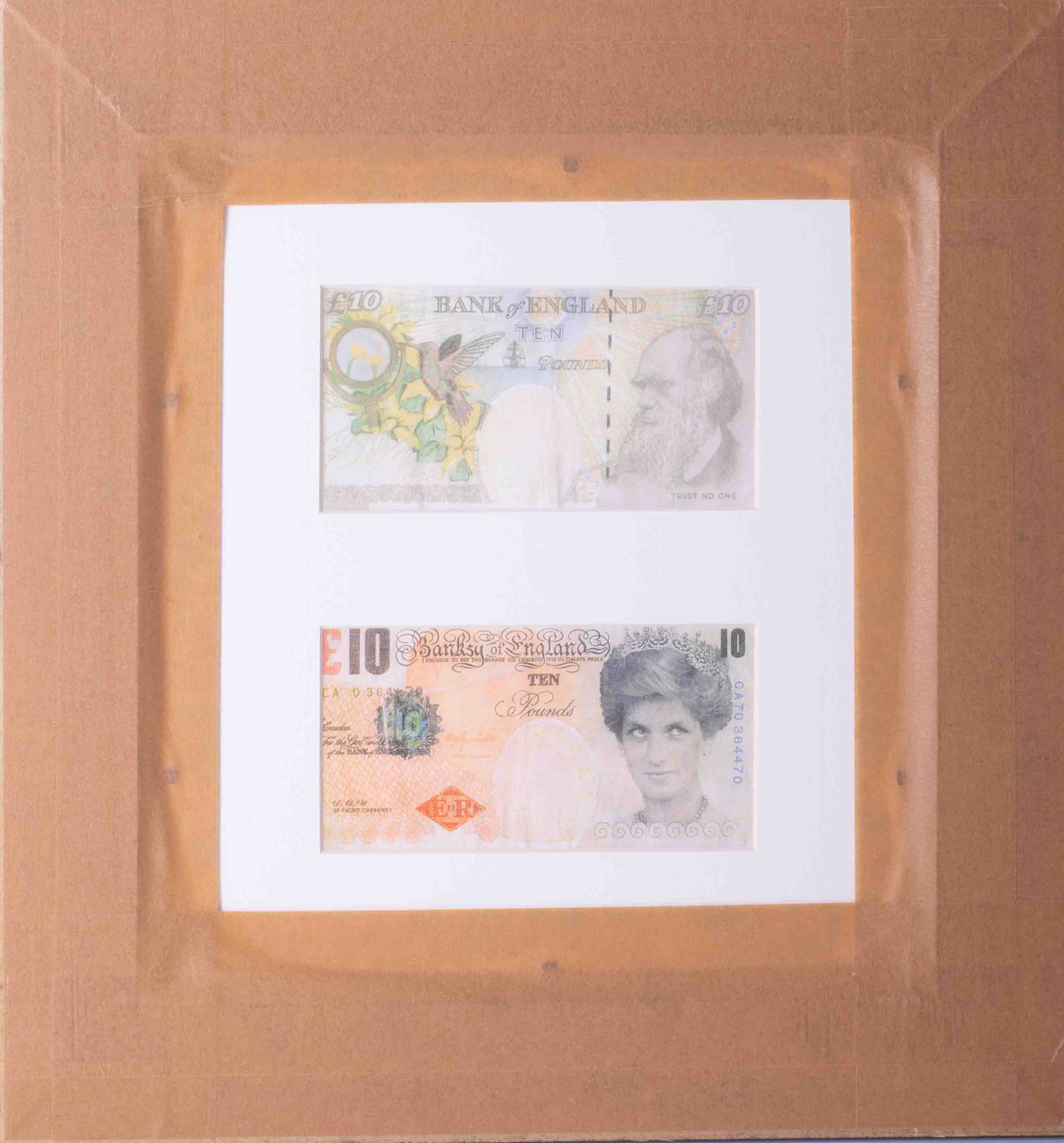 Banksy - 'Two Di-Faced Tenner's', 2004, on paper, Di Faced is a pun on the word, framed and - Image 3 of 3