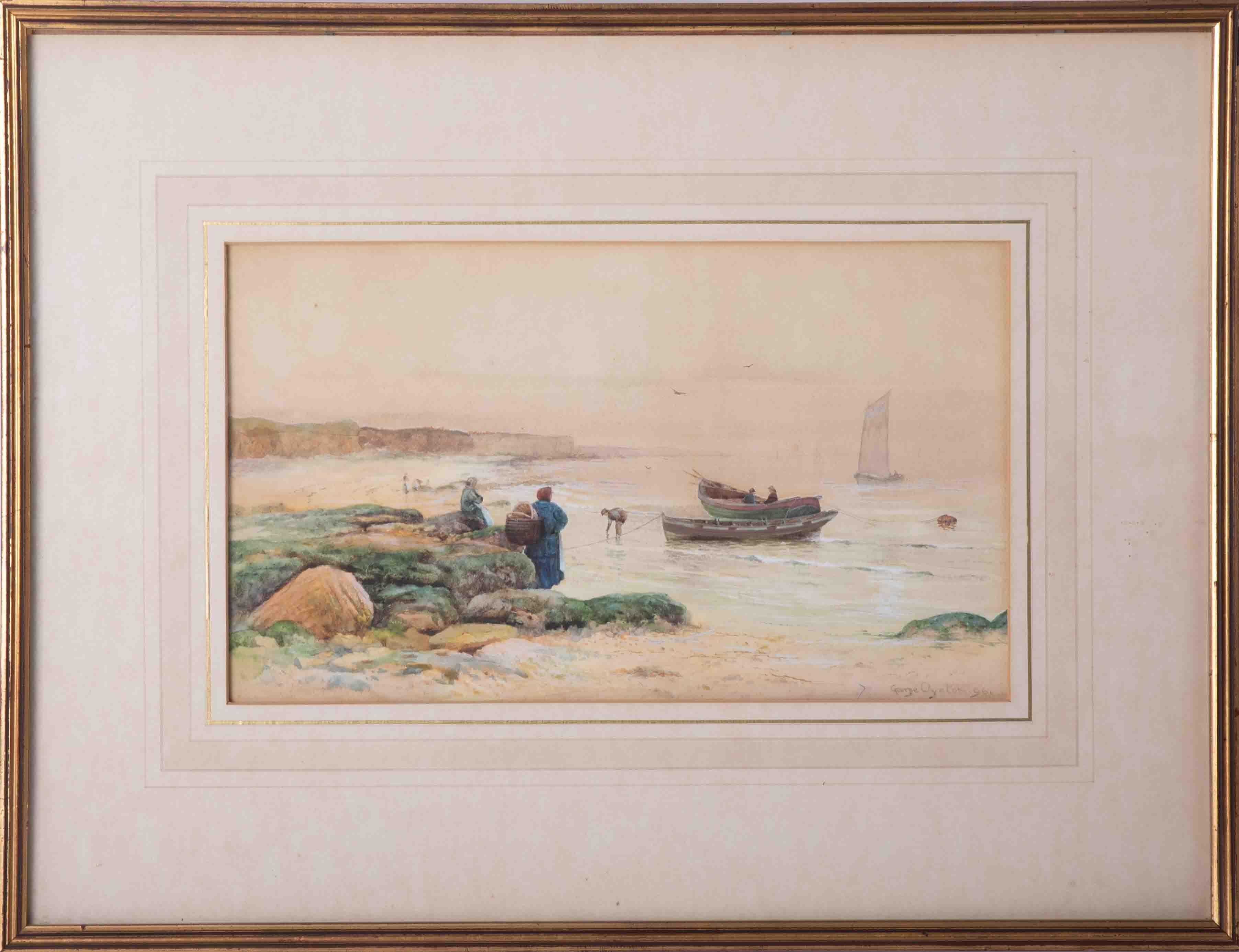 George Oyston (1861-1937), 1896 signed watercolour, 'Figures on the beach, fishing boats', 20cm x