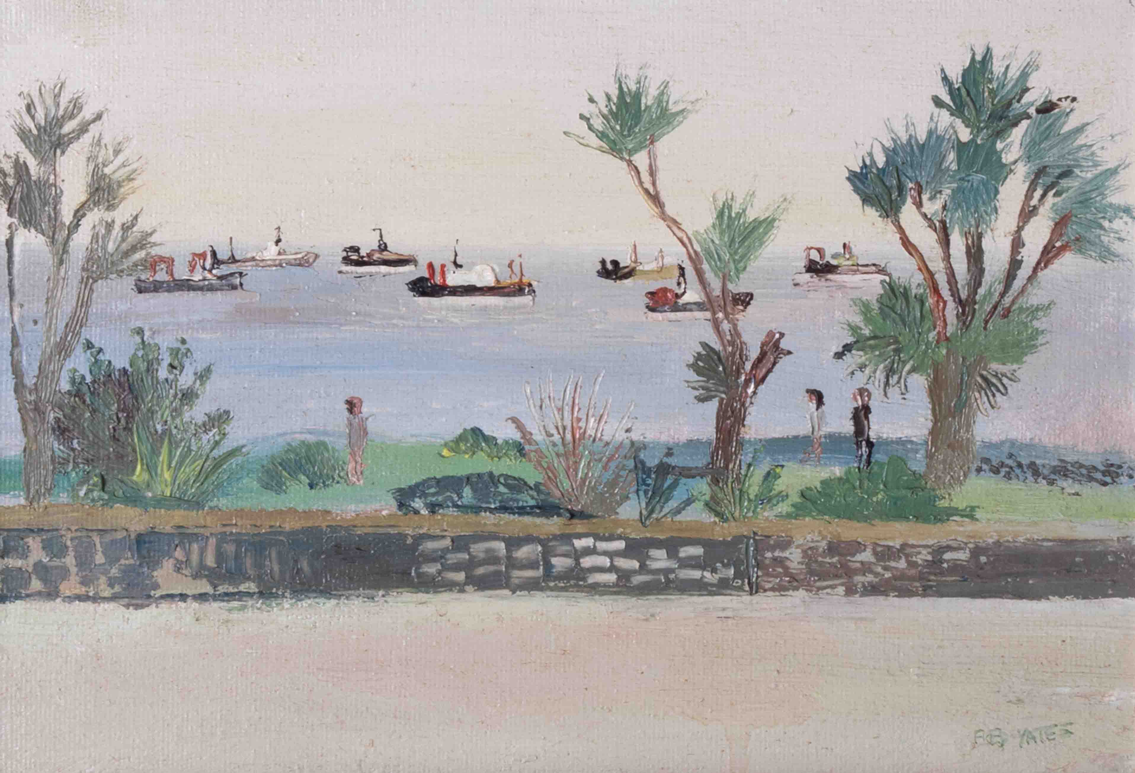 Fred Yates (1922-2008) 'Penzance' oil on canvas, 17cm x 25cm, signed, titled on reverse (No 14), - Image 2 of 3