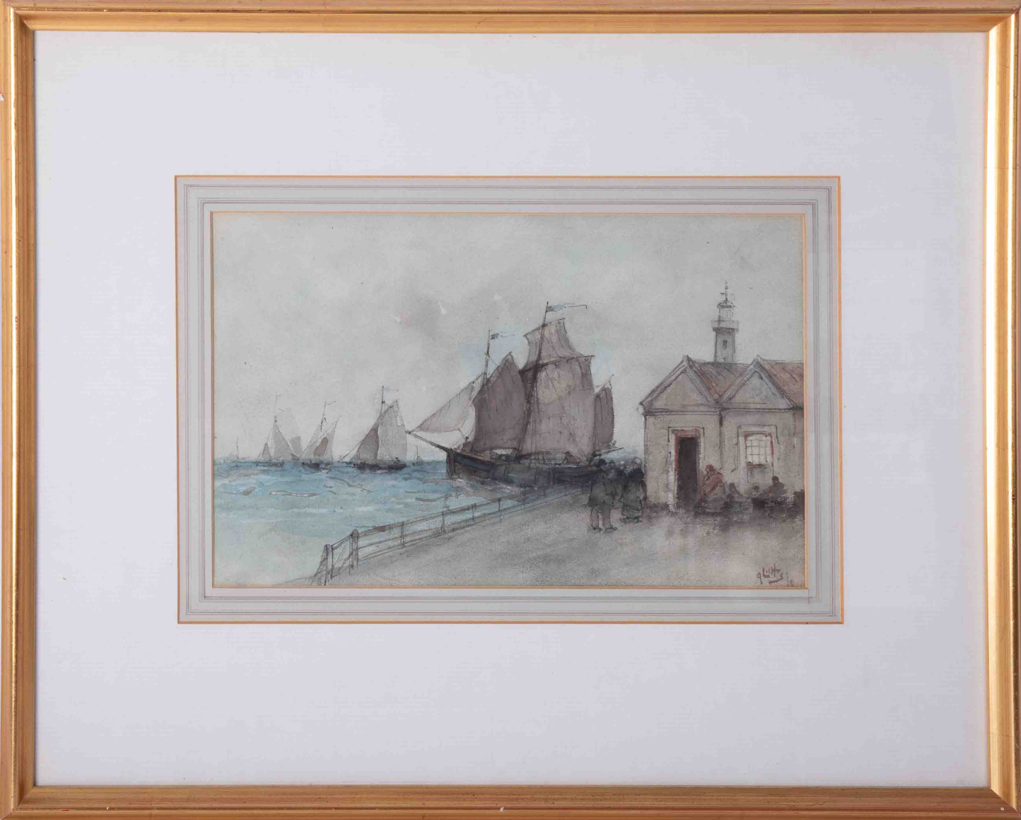 Lilts?, signed watercolour 'Sailing Ships on the Quay', 20cm x 33cm, framed and glazed.