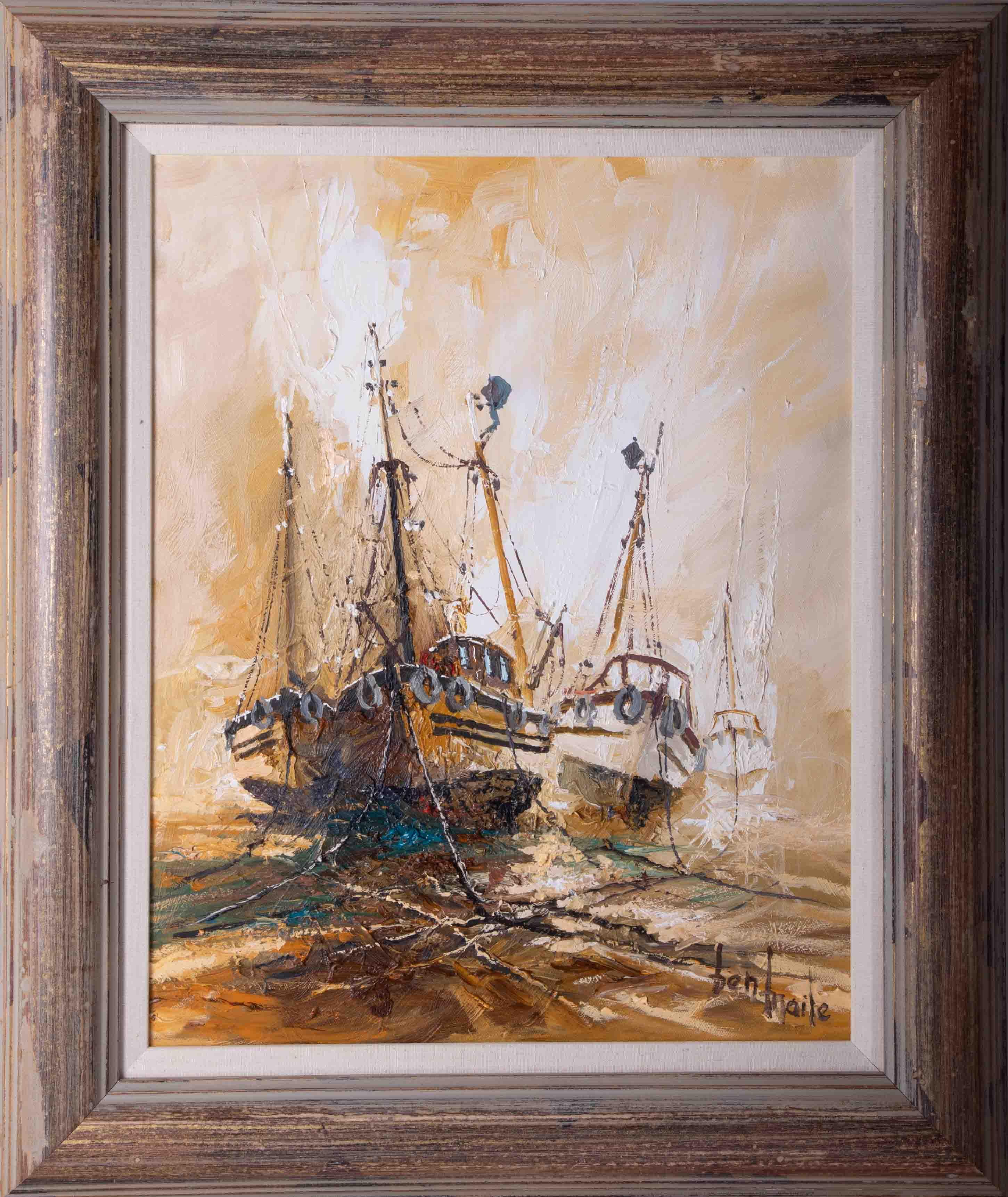 Ben Maile (1922-2017) 'Awaiting The Tide' oil on canvas, signed, 49cm x 38cm, framed.