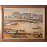Jean Parsons, 1962 oil on board, 'Harbour Boats', not signed on image, Frost & Reed label on