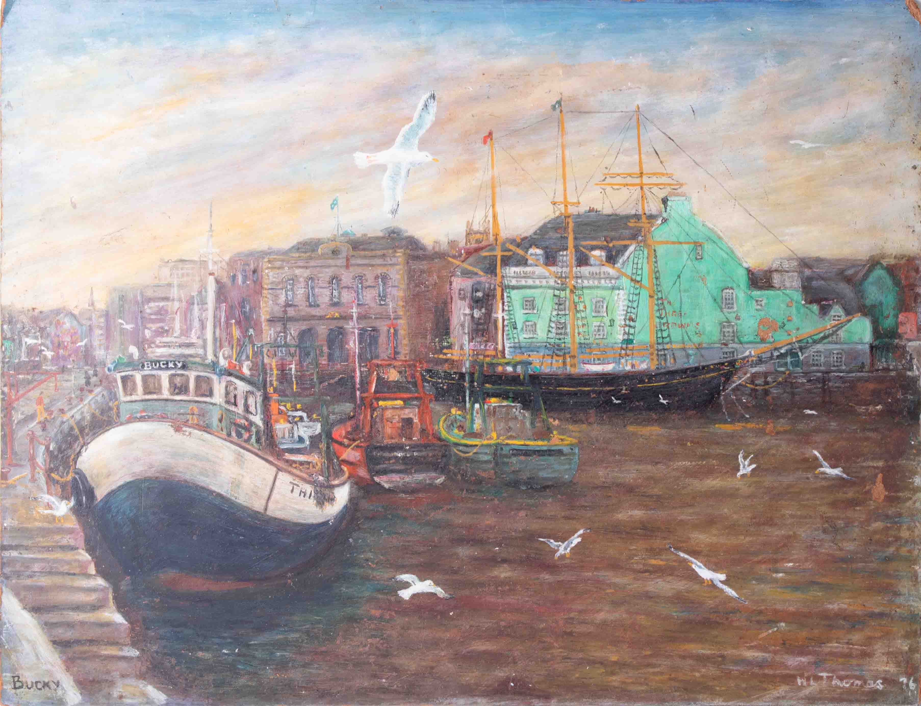 W.L.Thomas, oil on board titled 'Artist On The Steps, Sutton Harbour, Plymouth' also 'Bucky' with - Image 2 of 4