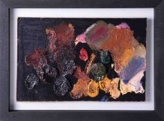 An original artist palette from the studio of Robert Lenkiewicz cleaned, restored and framed with