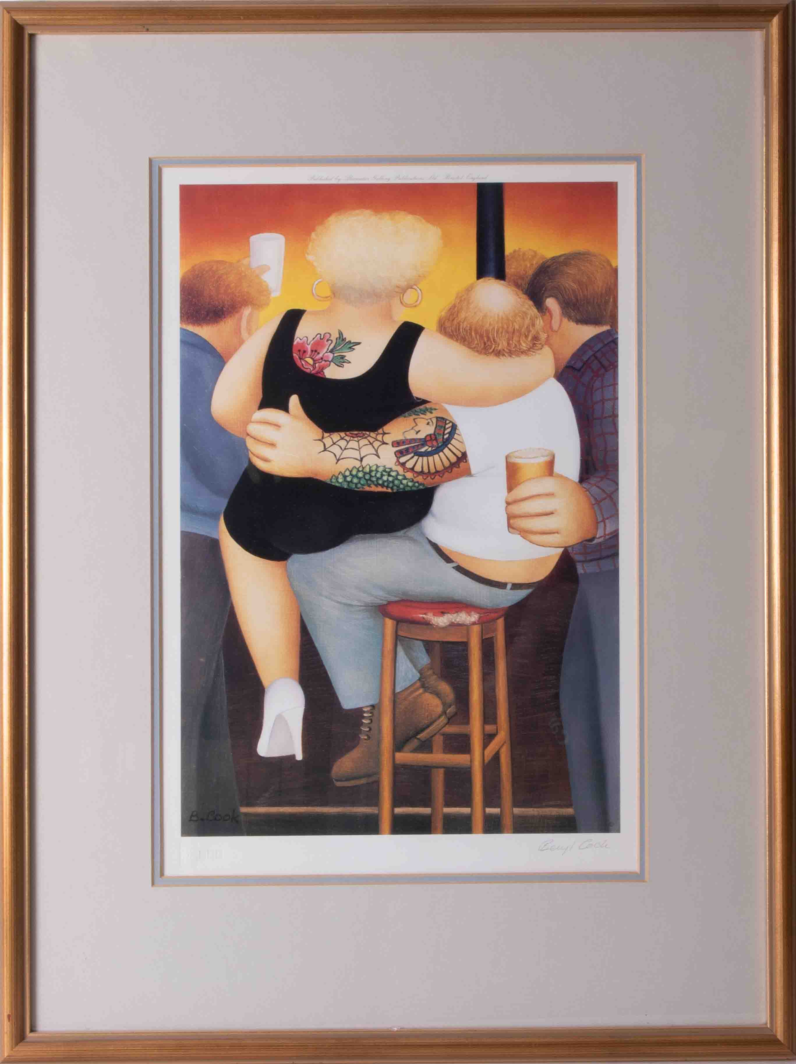 Beryl Cook (1926-2008), 'Two On A Stool', limited edition signed print, 27cm x 40cm, framed and