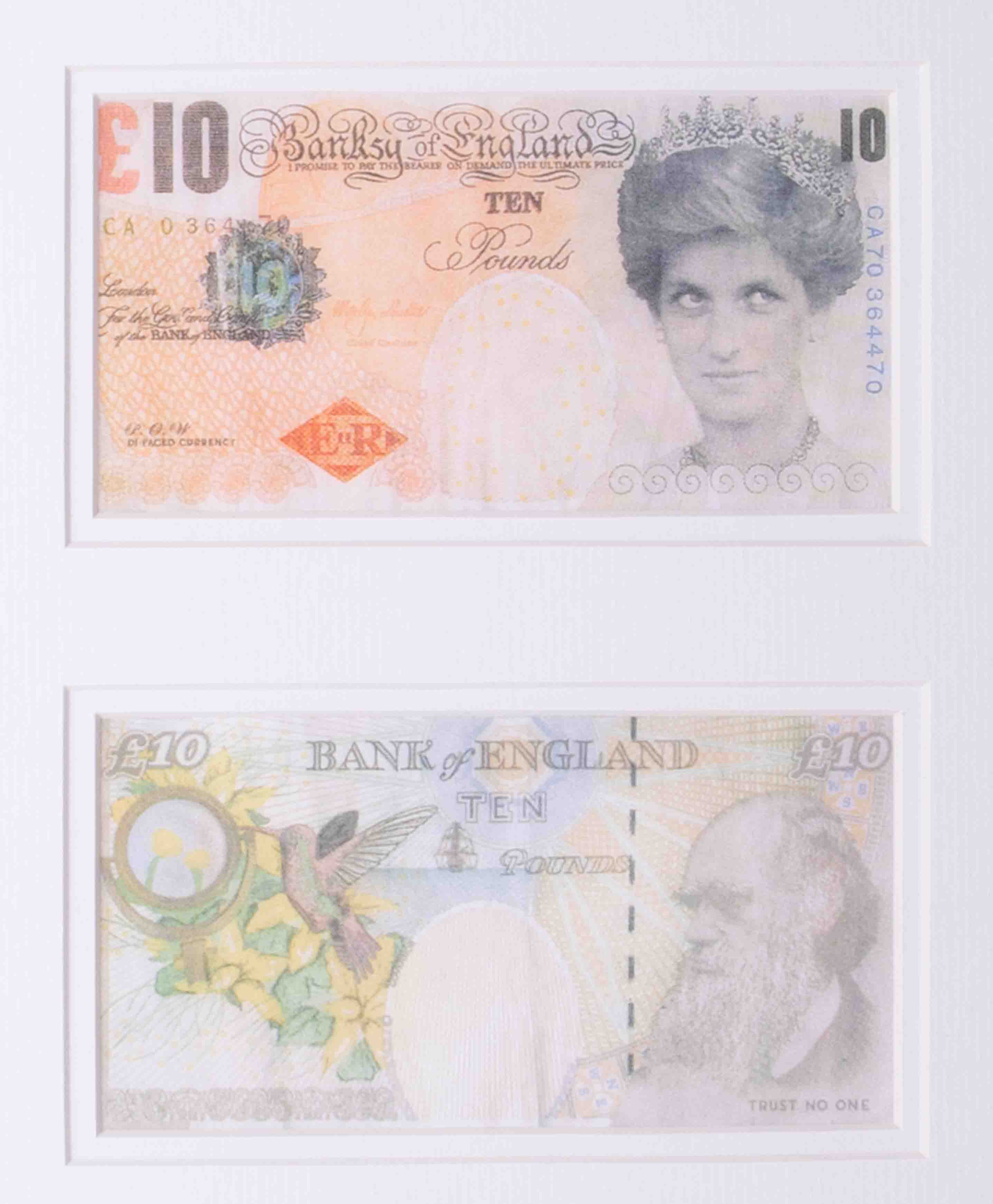 Banksy - 'Two Di-Faced Tenner's', 2004, on paper, Di Faced is a pun on the word, framed and - Image 2 of 3