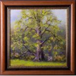 Clem Spencer (Plymouth), 'Sunlit Oak' oil on board, signed, 29cm x 29cm, framed. Provenance; this