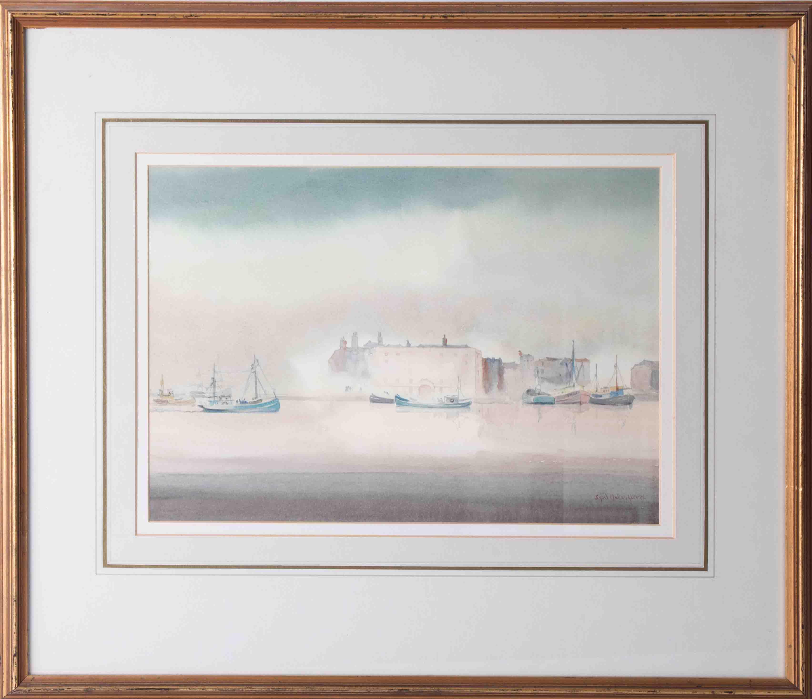 Sybil Mullen Glover RI RWA RSMA (1908-1995), 'Boats, Plymouth' signed watercolour, 25cm x 35cm,